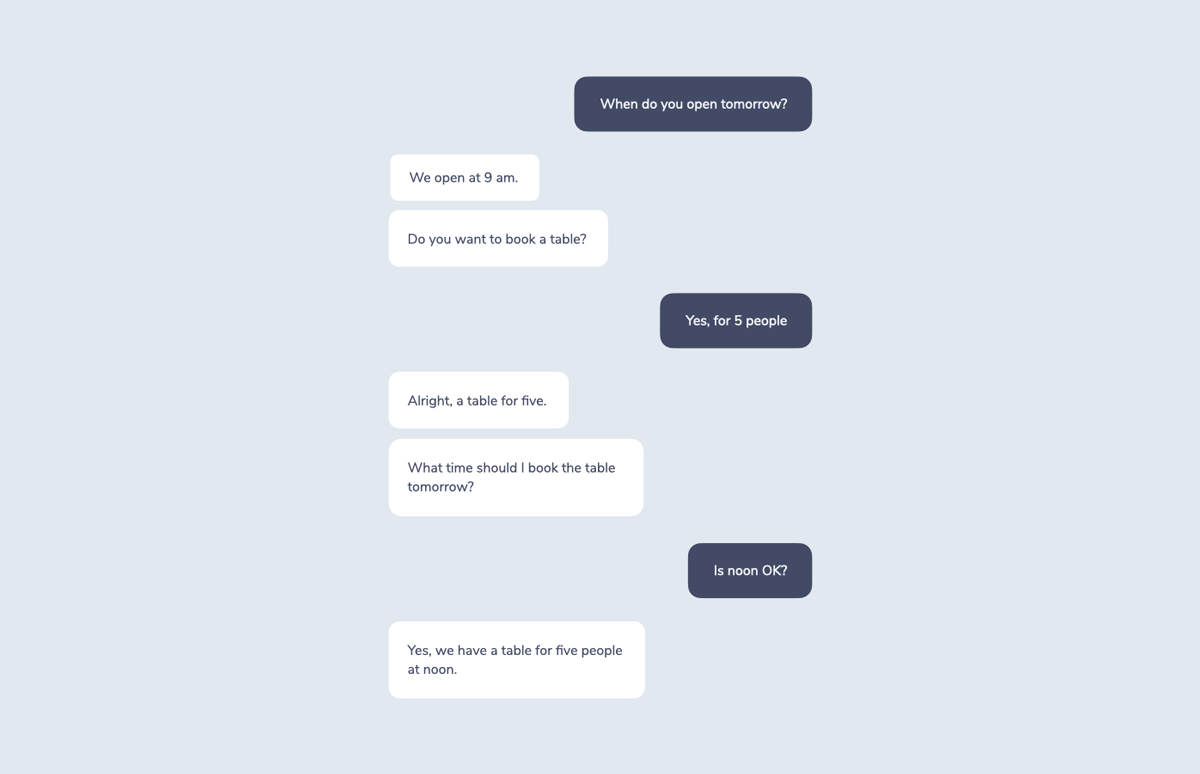 """A sample script showing a conversation between a user and a chat system. """"When do you open tomorrow?"""" - """"We open at 9 am. Do you want to book a table?"""" - """"Yes, for 5 people"""" - """"Alright, a table for five. What time should I book the table tomorrow? - """"Is noon OK?"""" - """"Yes, we have a table for five people at noon."""""""